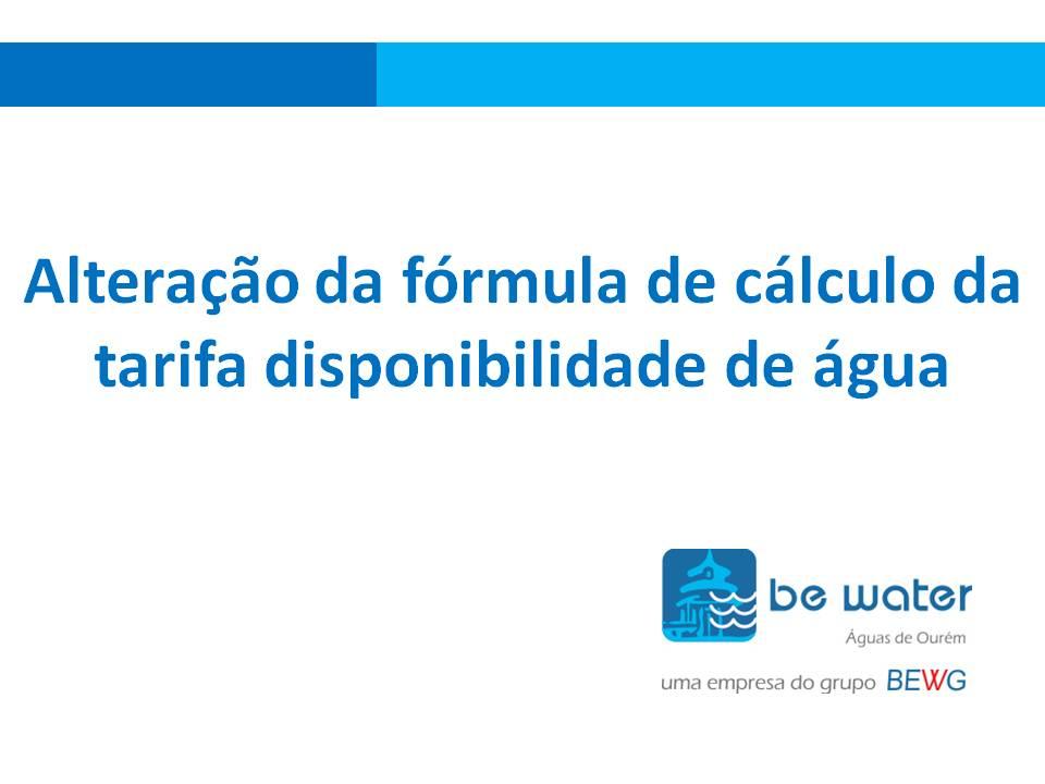 Alteracao da formula de calculo da tarifa disponibilidade de agua